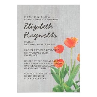 Chás de panela das tulipas do vintage convite 12.7 x 17.78cm