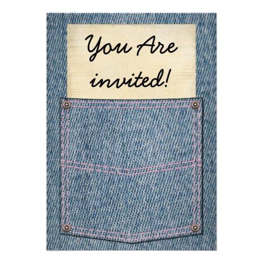 Chás de panela do bolso de jeans convite personalizado