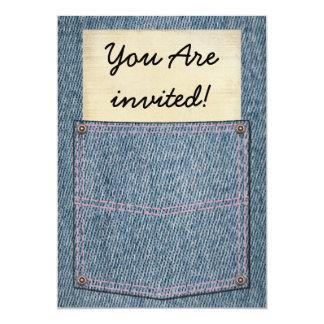 Chás de panela do bolso de jeans convite 12.7 x 17.78cm