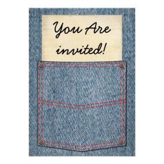 Chás de panela do bolso de jeans convite personalizados