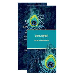 Chás de panela do design da pena do pavão convite 10.16 x 23.49cm