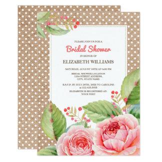 Chás de panela do design floral da aguarela convite 12.7 x 17.78cm