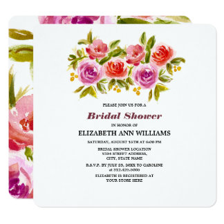 Chás de panela do design floral da aguarela convite quadrado 13.35 x 13.35cm