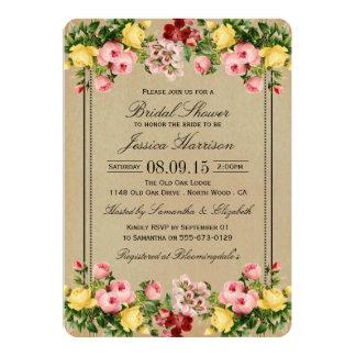 Chás de panela florais do vintage elegante convite 12.7 x 17.78cm