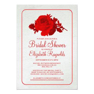 Chás de panela florais rústicos brancos vermelhos convite personalizado