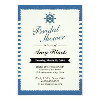 Chás de panela náuticos das listras azuis convite 12.7 x 17.78cm