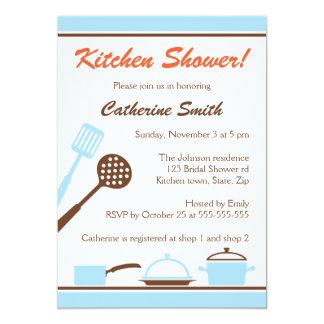 Chás de panela retros da cozinha do marrom azul convite personalizado