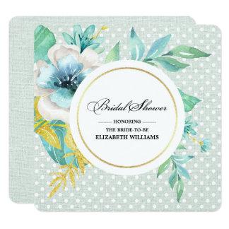 Chás de panela românticos do design floral convite quadrado 13.35 x 13.35cm