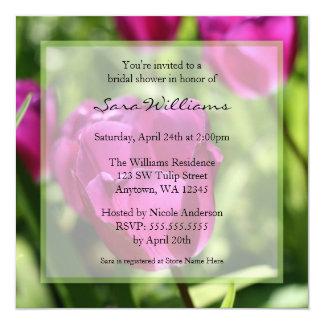 Chás de panela roxos das tulipas convite quadrado 13.35 x 13.35cm