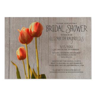 Chás de panela rústicos da tulipa convite 12.7 x 17.78cm