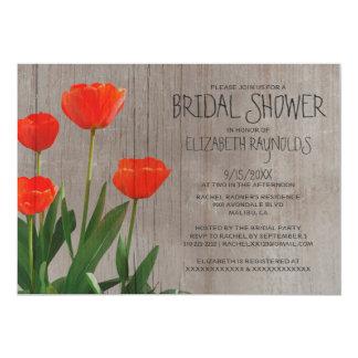 Chás de panela rústicos das tulipas convite 12.7 x 17.78cm
