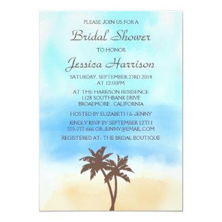 Chás de panela tropicais da palmeira da praia convite 12.7 x 17.78cm