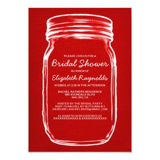 Chás de panela vermelhos & brancos do frasco de convite personalizados