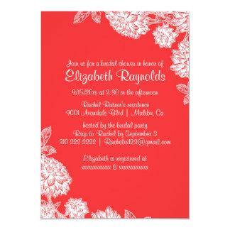 Chás de panela vermelhos & brancos elegantes convite