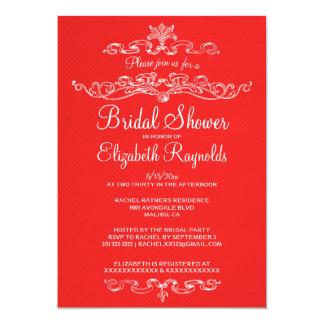 Chás de panela vermelhos & brancos luxuosos convite