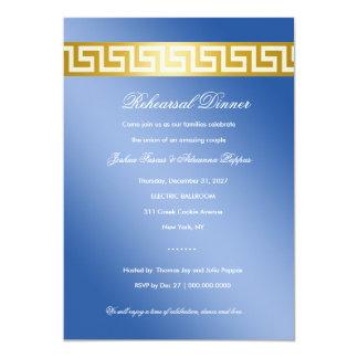 Chave 311 grega azul dourada convite 12.7 x 17.78cm