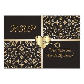Chave a meu cartão do coração RSVP Convites Personalizado