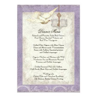 Chave a meu coração, menu do comensal de casamento convite 12.7 x 17.78cm