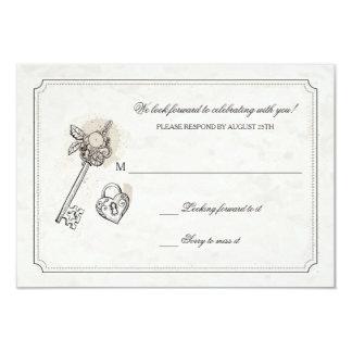 Chave a meus cartões da resposta do coração convite 8.89 x 12.7cm