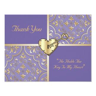 Chave a meus cartões de agradecimentos do coração convites personalizado