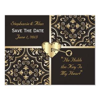 Chave a minhas economias do coração o cartão de convite 10.79 x 13.97cm