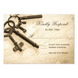 Chave a seus cartões do casamento vintage RSVP do Convite 8.89 X 12.7cm