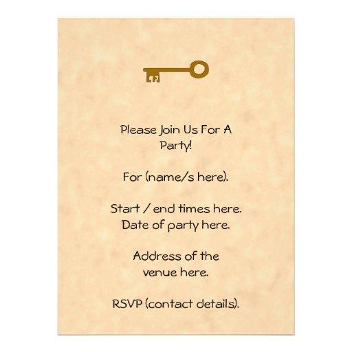 Chave. Chave de Brown no efeito do pergaminho Convites Personalizado