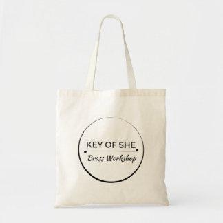 Chave da ela o bolsa de bronze do logotipo