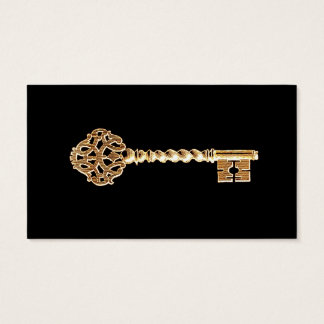 Chave de esqueleto de Steampunk do ouro dourado Cartão De Visitas