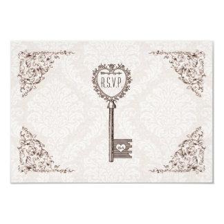 Chave do amor do vintage que Wedding RSVP Convite 8.89 X 12.7cm