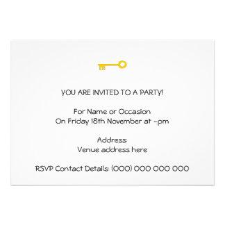 Chave do ouro no branco convite personalizado