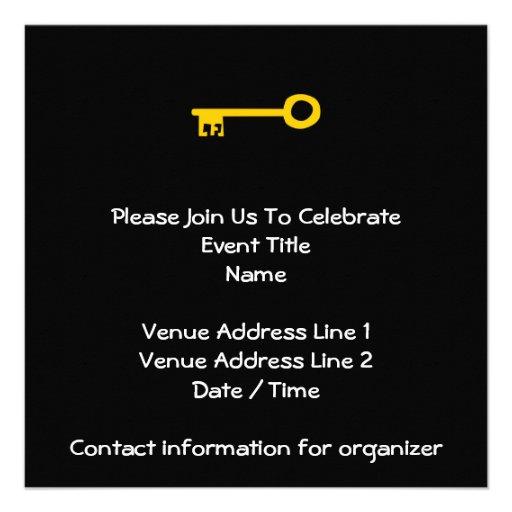 Chave do ouro no preto convites personalizado