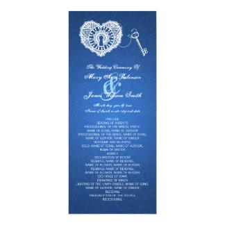 Chave do programa do casamento a meu azul do convite 10.16 x 23.49cm
