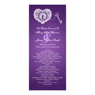 Chave do programa do casamento a meu roxo do convite 10.16 x 23.49cm