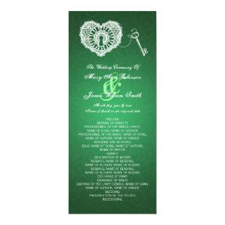 Chave do programa do casamento a meu verde do convite personalizado
