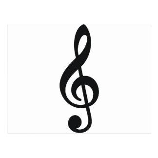 chave do triplo da nota da nota musical cartão postal