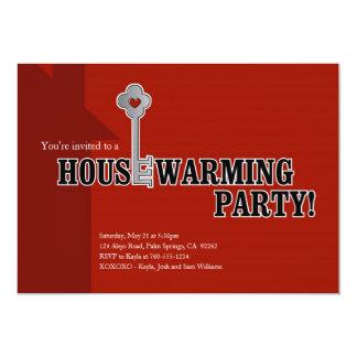 Chave e coração, partido do Housewarming Convite 12.7 X 17.78cm