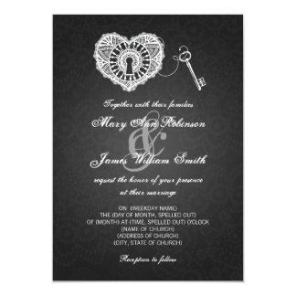 Chave elegante do casamento a meu preto do coração convite 12.7 x 17.78cm