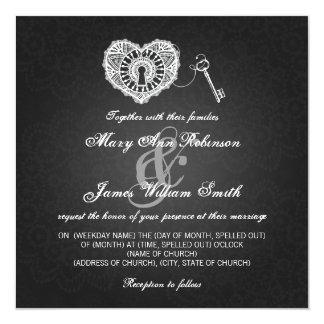 Chave elegante do casamento a meu preto do coração convite quadrado 13.35 x 13.35cm