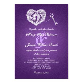 Chave elegante do casamento a meu roxo do coração convite 12.7 x 17.78cm