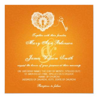 Chave elegante do casamento a minha laranja do convites
