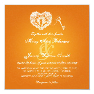 Chave elegante do casamento a minha laranja do convite quadrado 13.35 x 13.35cm