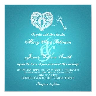 Chave elegante do casamento a minha turquesa do convite quadrado 13.35 x 13.35cm
