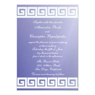 Chave grega azul e branca convite 12.7 x 17.78cm