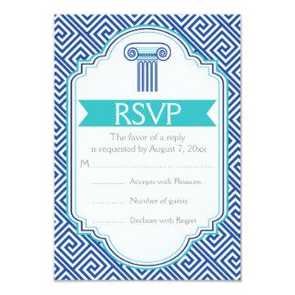 Chave grega e aqua, coluna azul que wedding RSVP Convite 8.89 X 12.7cm