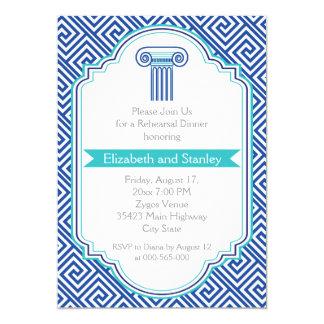 Chave grega e jantar de ensaio azul do casamento convite 12.7 x 17.78cm