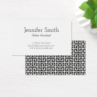 Chave grega preto e branco cartão de visitas