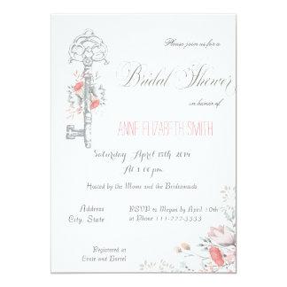 Chave rústica e chá de panela floral convite 12.7 x 17.78cm