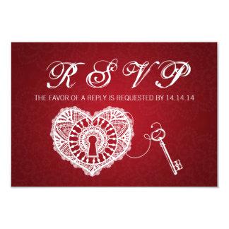 Chave Wedding elegante de RSVP a meu vermelho do Convite 8.89 X 12.7cm