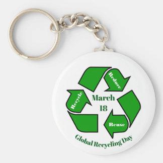 Chaveiro 18 de março, design global do dia do reciclagem